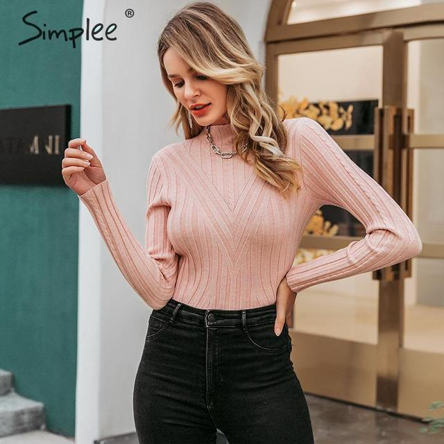 Simplee Knitted jumper sweater women autumn winter Long sleeve top turtleneck female sweater ladies bestmatch pullover jumpers 1