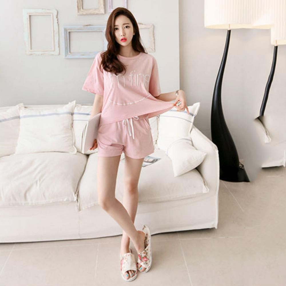 Summer Women Short Sleeve Sportswear Home Clothing Set 2pcs Tops Shorts Female Leisure Pajamas