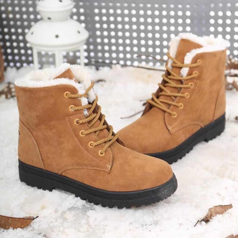 Fujin kar botları kadın pamuk peluş sıcak yarım çizmeler kadınlar için Platform bağcıklı ayakkabı kadın kış ayakkabı patik moda