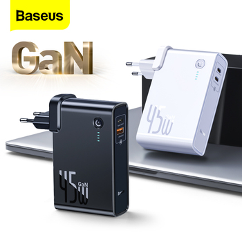Baseus GaN Charger 45w PD Fast Chargers With 10000mAh Power Bank For Phone 2 in 1 Portable External Battery Charger For Xiaomi