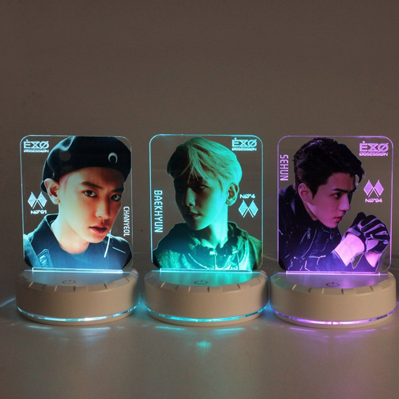 2020 EXO BAEKHYUN CHANYEOL SEHUN OBSESSION Table Lamp Light Stick LED Night Light Bedside Lamp Lightstick Luminou Stationery Set