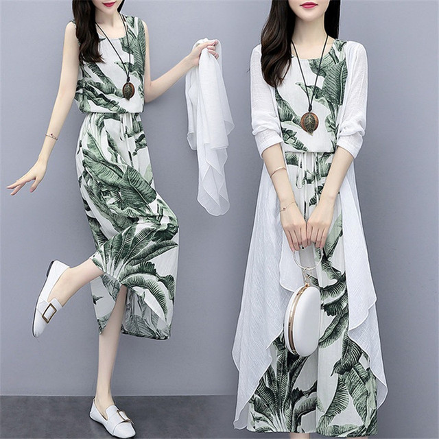 Cotton And Linen Dress Suit Plus Size 2020 Spring Summer Loose National Style Printed Women's Elegant Dress Two-piece Set W2050 2
