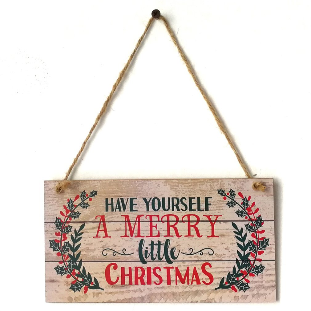 Merry Christmas Sign Hanging Board with Have Yourself a Merry Little Christmas Holidays Door Wall Christmas Tree Ornaments