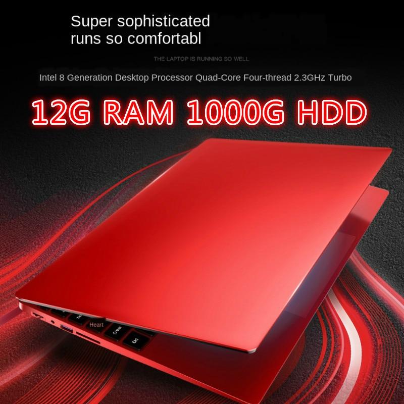 15.6 Polegada quad-core gaming laptop móvel, 12g ram 1tb hdd 512g 256g 128gssd netbook de negócios ultra-fino portátil j4105 rosa vermelho