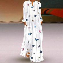Kadınlar Vintage Maxi elbise V boyun günlük rahat uzun kollu çizgili kelebek baskılı sonbahar parti uzun elbiseler robe femme 2020