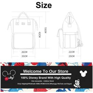 Image 3 - Sac à couches rouge Disney, mignon Minnie Mickey, sac à dos étanche/soin de bébé/maman, sac à dos de maternité, grand sac à langer avec nœud rayé et sourire