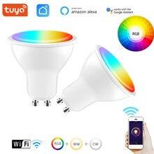 Tuya vida inteligente wifi gu10 regulável rgb 2700k-6500k) 4wled bulbo suporta amazon alexa eco e google controle de voz para casa