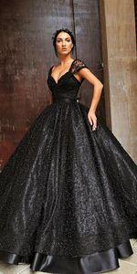 Image 1 - สีดำบอลชุดเจ้าหญิง Gothic งานแต่งงานกับสายรัด Sweetheart ไข่มุกลูกไม้ความยาว Non สีขาวชุดเจ้าสาวที่กำหนดเอง