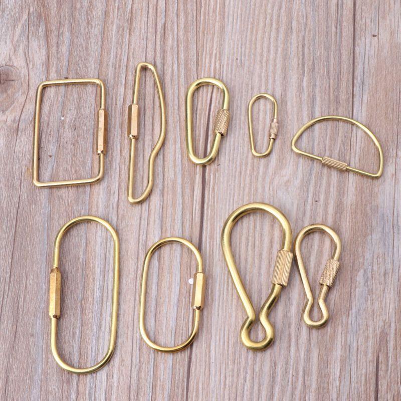 O//D//A Shape Durable Brass Screw Lock Clip Key Chain Ring Simple Car Keychain