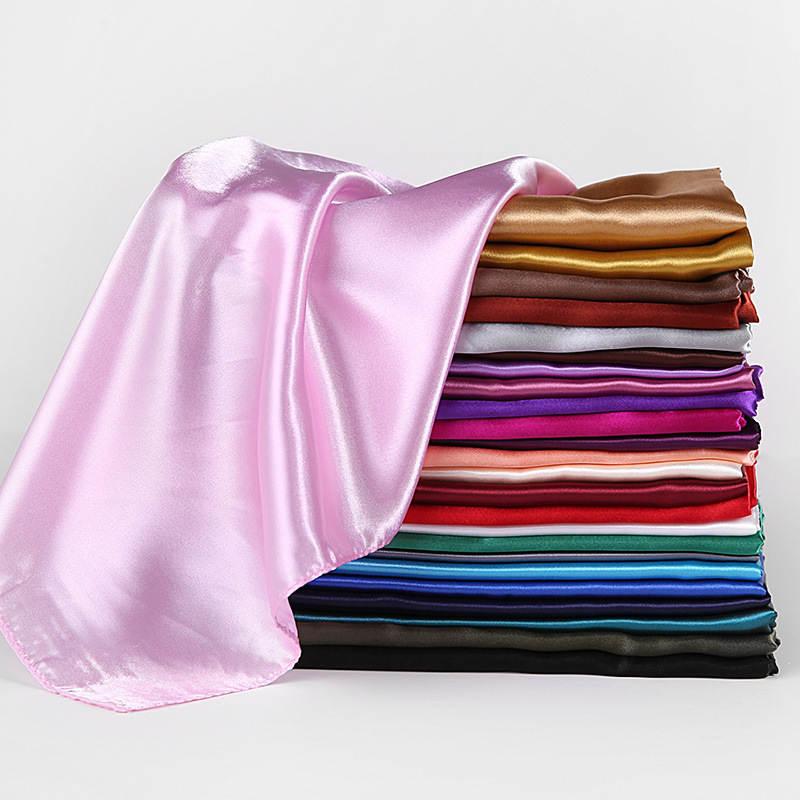 Hijab Scarf Headband Shawls-Head Neckerchief Square Silk Satin Female Solid-Colors Women
