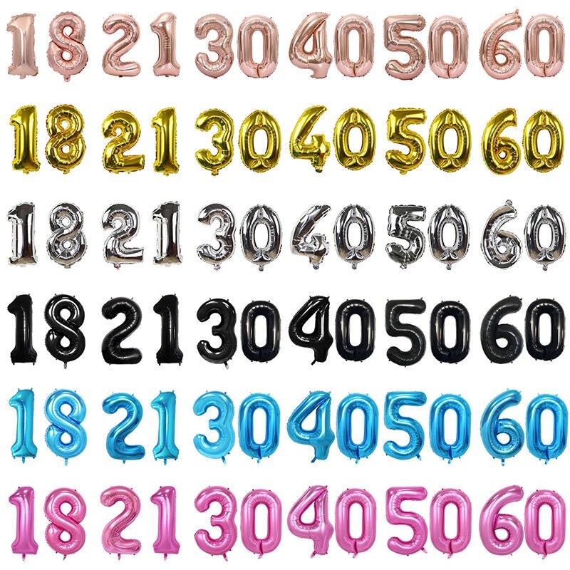 2 Stks/set 32 Inch Verjaardag Nummer Ballonnen 16 21 30 99 Jaar Anniversary Rose Gold Black Verjaardagsfeestje Decoratie Digitale ballons
