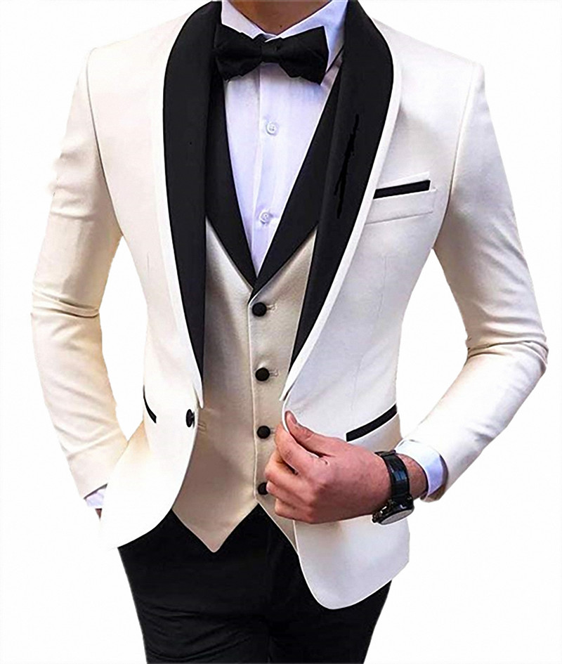 Custom Made Male Big And Tall Business Office Work Tuxedo Suit 3 Pieces Shawl Lapel Wedding Suits Blazer Costumes Pour Hommes