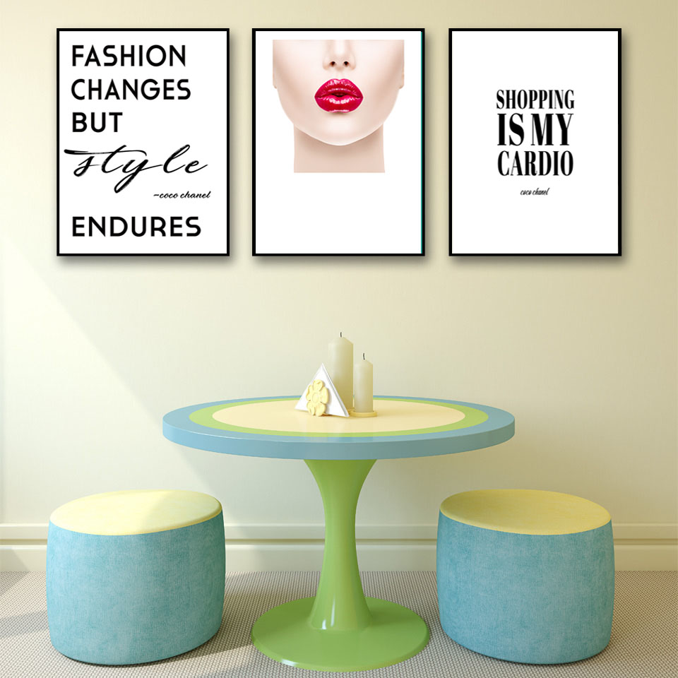 Fashion Vogue  Lips Sexy Girl Wall Art Canvas Poster Minimalist Print Painting Wall Picture for Living Room Home Decor