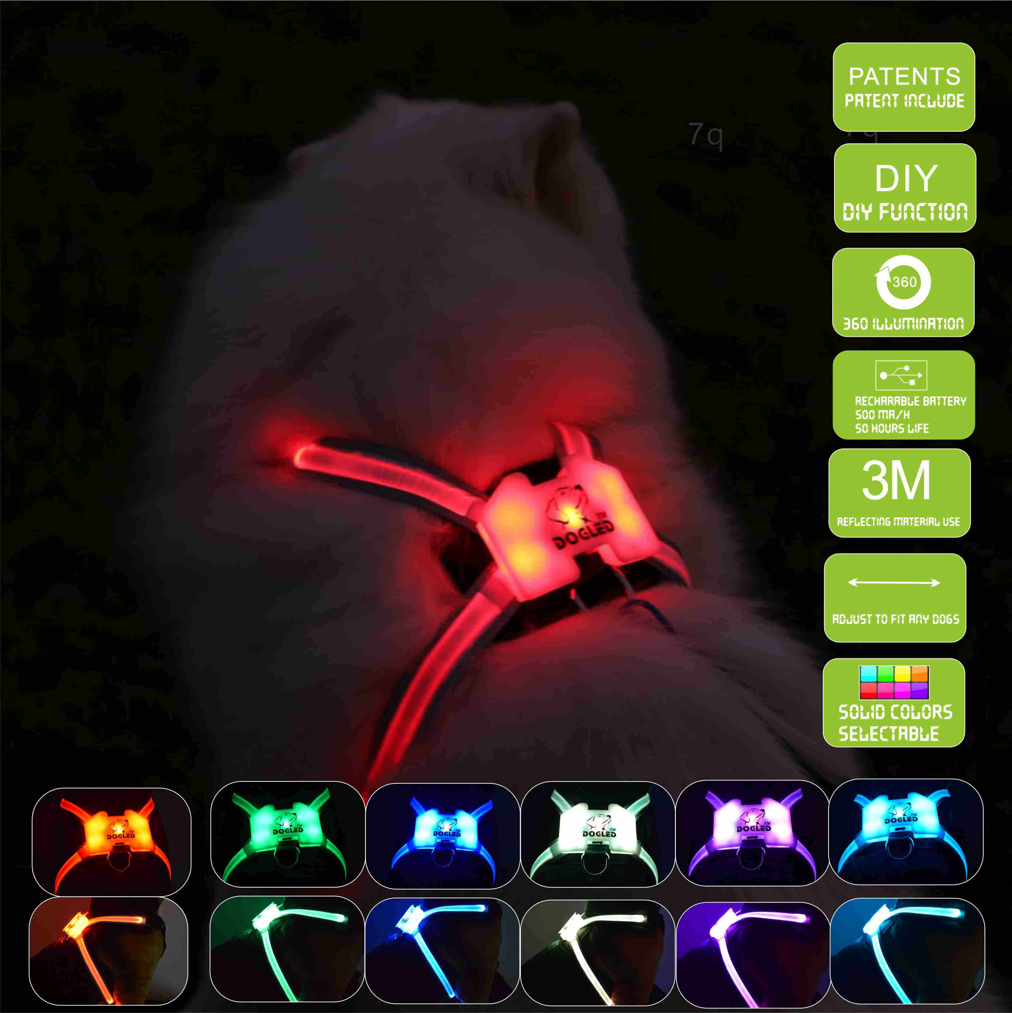 DOGLED inflatable collar light for dog Led Dog Harness Collar pet harness Pet Custom Puppy CatCollars