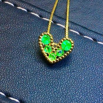 SHILOVEM 925 sterling silver Natural Emerald Pendants classic fine Jewelry women wedding necklace wholesale 3mm jcz03032.52.5agm