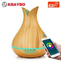 KBAYBO 400 мл ароматерапия машина деревянная для дома ультразвуковой Арома увлажнитель воздуха диффузор можно подключить Wi-Fi телефон дистанцио...