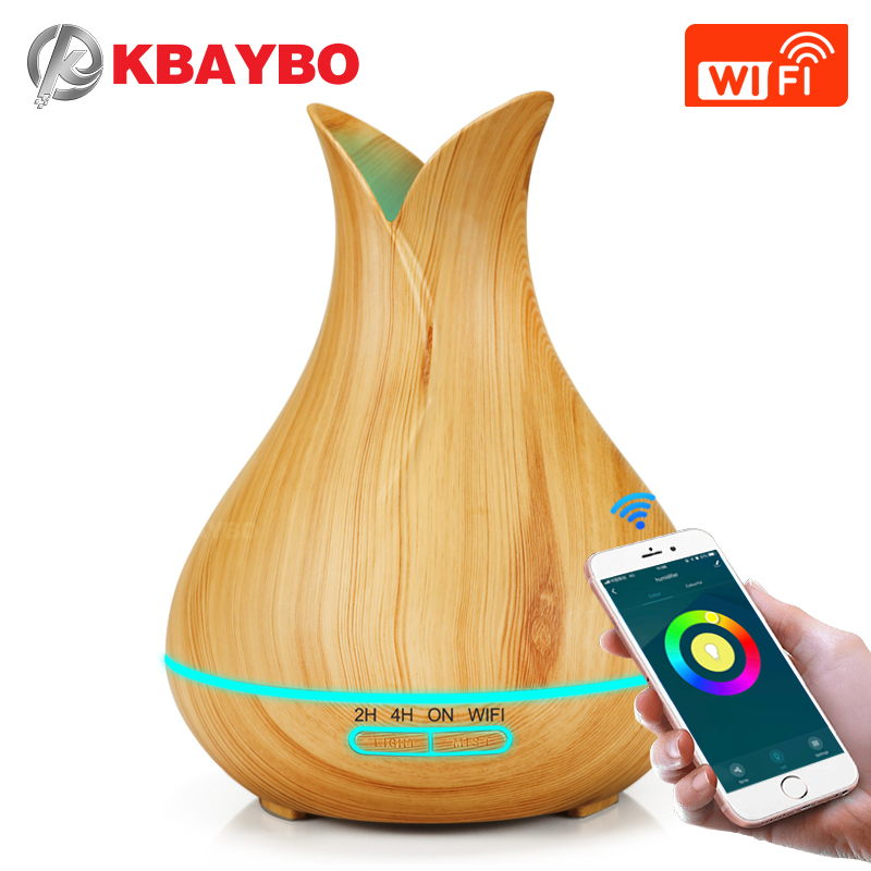 KBAYBO 400ML Ultrasonic Aromatherapy Machine Wooden For Home Use Air Diffuser Can Connect Wifi Phone Remote Control