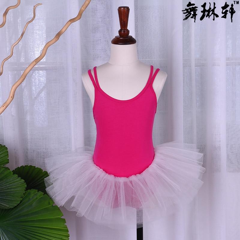 Летняя одежда для упражнений для девочек, крест двойной ремень, балетное платье, Сетчатое платье, одежда для латинского танца, на заказ - Цвет: Pink