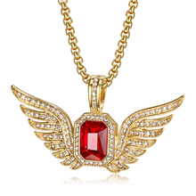 Hip Hop Iced Out Full CZ Bling Angel Wings Pendant Necklace Gold Color Stainless Steel Chains for Men/Women Jewelry Dropshipping hip hop iced out bling horse head pendants necklaces for men gold color stainless steel round cz necklace jewelry dropshipping