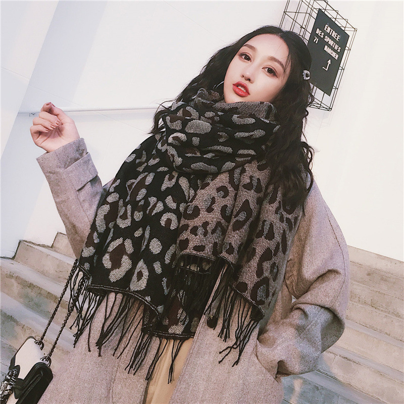 2019 New Women Leopard Cashmere Knitted Wool Long Scarf Scarves Lady Winter Thicken Warm Pashmina Shawls Wraps Female Bandana