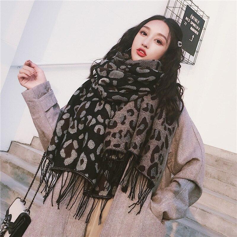 2020 neue Frauen Leopard Kaschmir Gestrickte Wolle Lange Schal Schals Dame Winter Verdicken Warme Pashmina Schals Wraps Weibliche Bandana