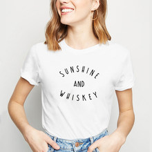 Sunshine and Whiskey Printed Tee Shirt Femme Summer Short Sleeve O-neck T Shirts for Women Cotton Loose Black White Tshirt Women