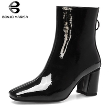 BONJOMARISA 2019 New Arrival Patent Pu Booties Ladies Brand Square Toe Ankle Boots Women OL High Heels Shoes Woman 34-42