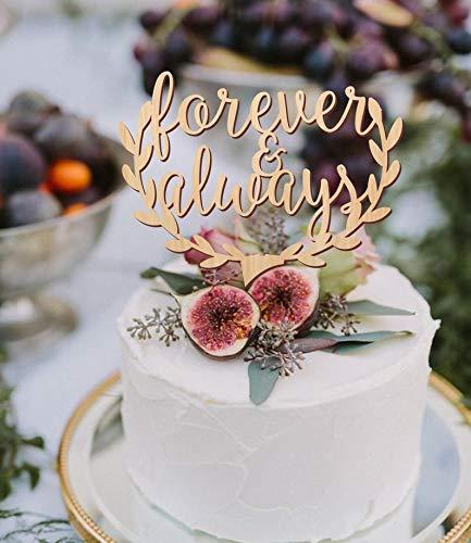 Décoration de gâteau de mariage pour toujours et toujours   Décoration de gâteau personnalisée pour fête danniversaire fiançailles, miroir en bois rustique romantique doré
