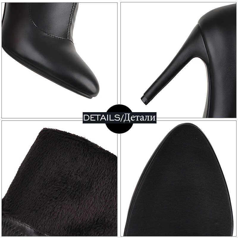 WETKISS Sexy Dunne Hoge Hakken Vrouwen Laarzen Over De Knie Boot Wees Teen Vrouwelijke Schoenen Winter Warm Schoeisel Super Grote size 33-48