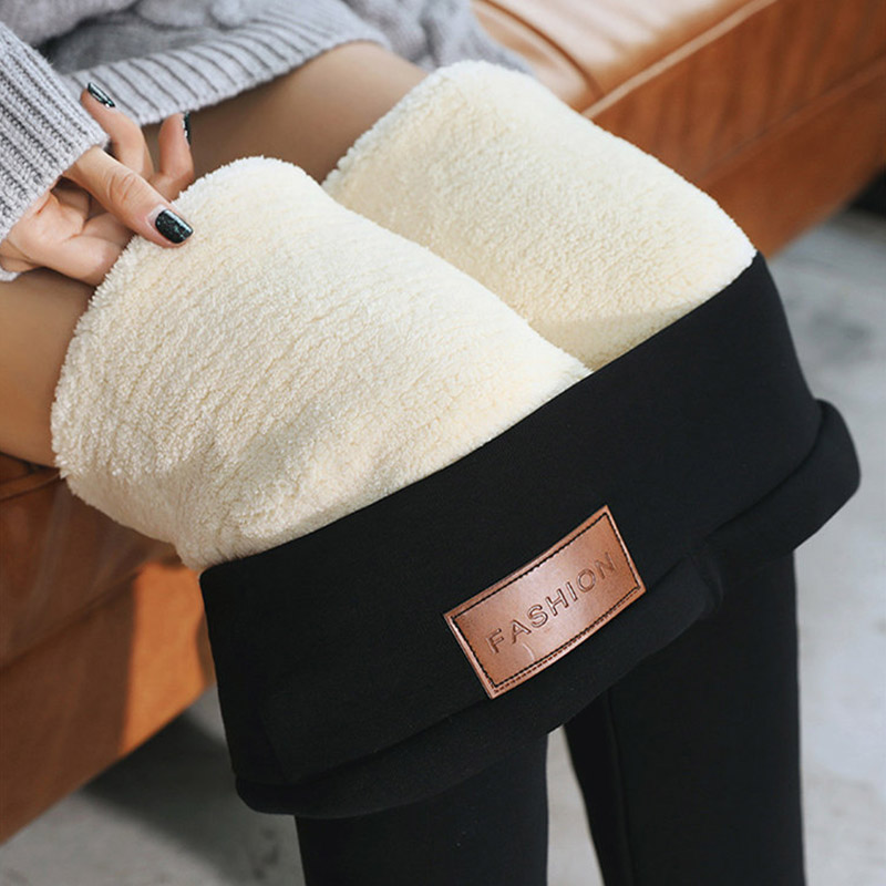 Women Fleece 1PC Wool High Quality Leggings Winter Velvet Hot Sale Warm Pants Black Skinny Trousers Lambskin Cashmere Thick