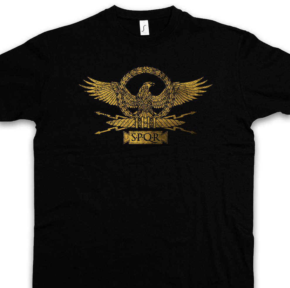 Roman Eagle T Shirt Roma Rom Kaiser Ceasar Emperor Spqr Empire Julius Insignia Blacks Cotton Free Shipping image