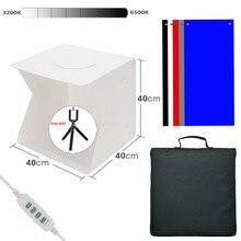 Dobrável lightbox fotografia 40*40 photo studio softbox painel led caixa de luz suave foto fundo kit caixa de luz para dslr câmera