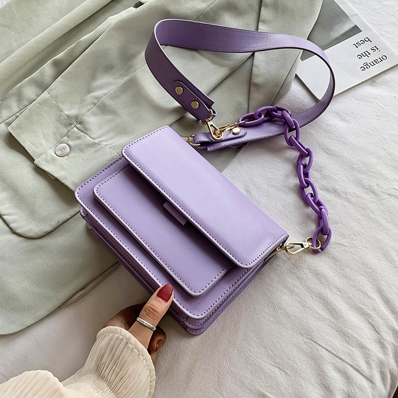 Chain Design New Mini PU Leather Flap Bags For Women 2020 Summer Lady  Shoulder Handbag Female Fashion Cross Body Bag