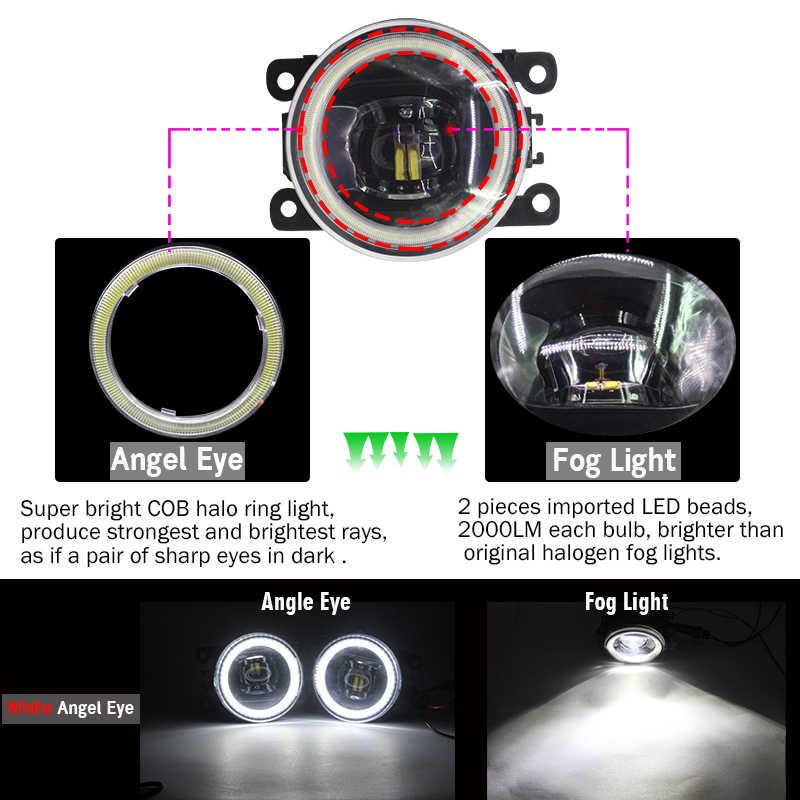 Cawanerl Peugeot 408 2017 2018 araba için 4000LM H11 LED sis işık kiti melek göz gündüz farı DRL 12V aksesuarları