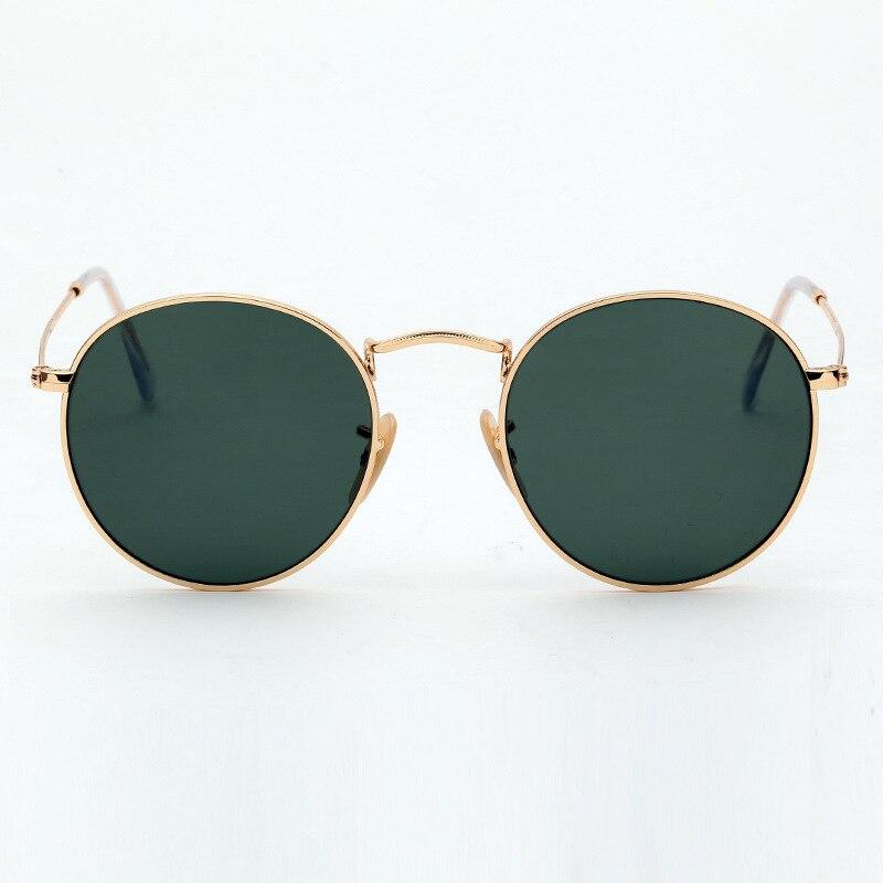 Réel verre lentille UV400 rétro rond lunettes de soleil lunettes de soleil hommes femmes de luxe designer marque féminine oculos de sol 3447