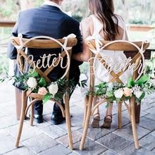 Cadeira de madeira cadeiras banner sinal diy decoração de casamento para noivado suprimentos de festa de casamento noiva & noivo/mr & mrs/melhor & juntos
