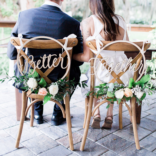 Wood Chair Banner Chairs Sign DIY Wedding Decoration for Engagement Wedding Party Supplies Bride&Groom/Mr&Mrs/Better&Together