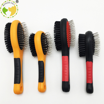 2019 new pet dog brush short long thick hair fur shedding remove cat groom rake brush comb dog puppy grooming brush clean tool Bonzerpet Pet Black Double Sides Bath Brush Dog Cat Comb Pet Faces Fur Grooming Tool For Long & Short Hair Dogs Puppy  2 Sizes