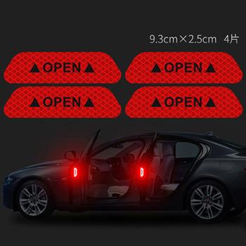 4 sztuk zestaw samochodów Open Reflectante taśma znak ostrzegawczy odblaskowe otwarte zawiadomienie akcesoria rowerowe zewnątrz drzwi samochodu odblaskowa naklejka tanie i dobre opinie wupp CN (pochodzenie) Car Body Door Interior