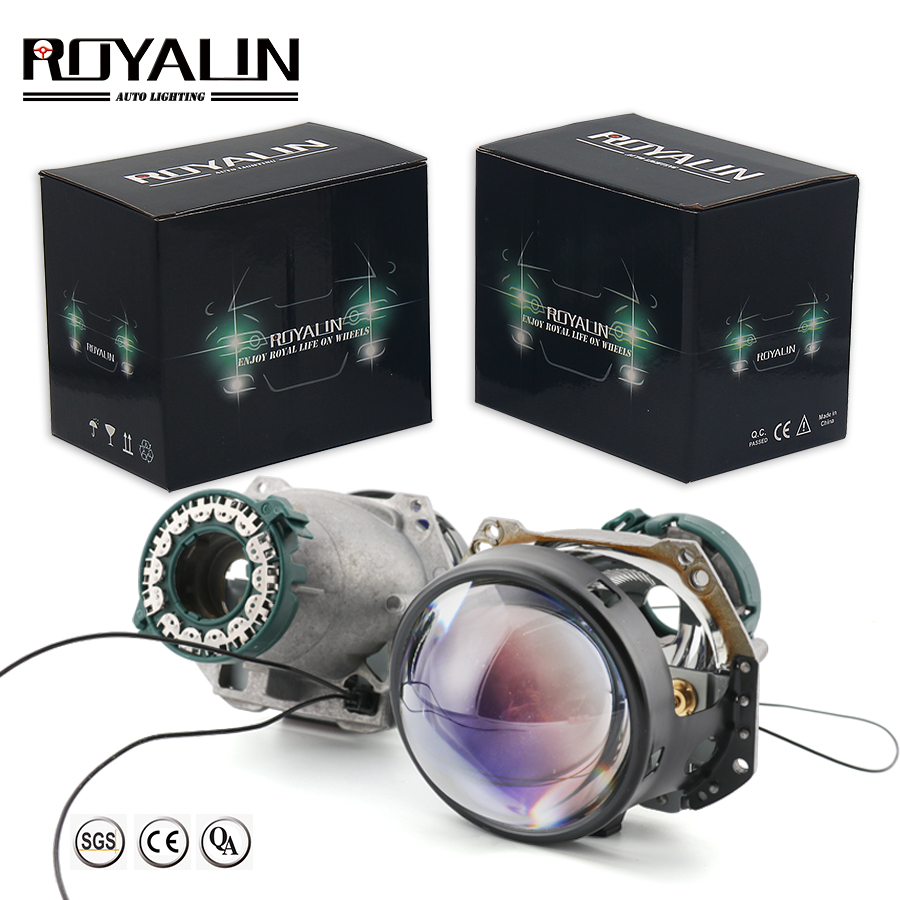 ROYALIN Bi Xenon For Blue Hella 3R G5 Black Car Styling Headlights Projector Universal Auto HID D2S D2H Lamp Hi/lo Retrofit Lens