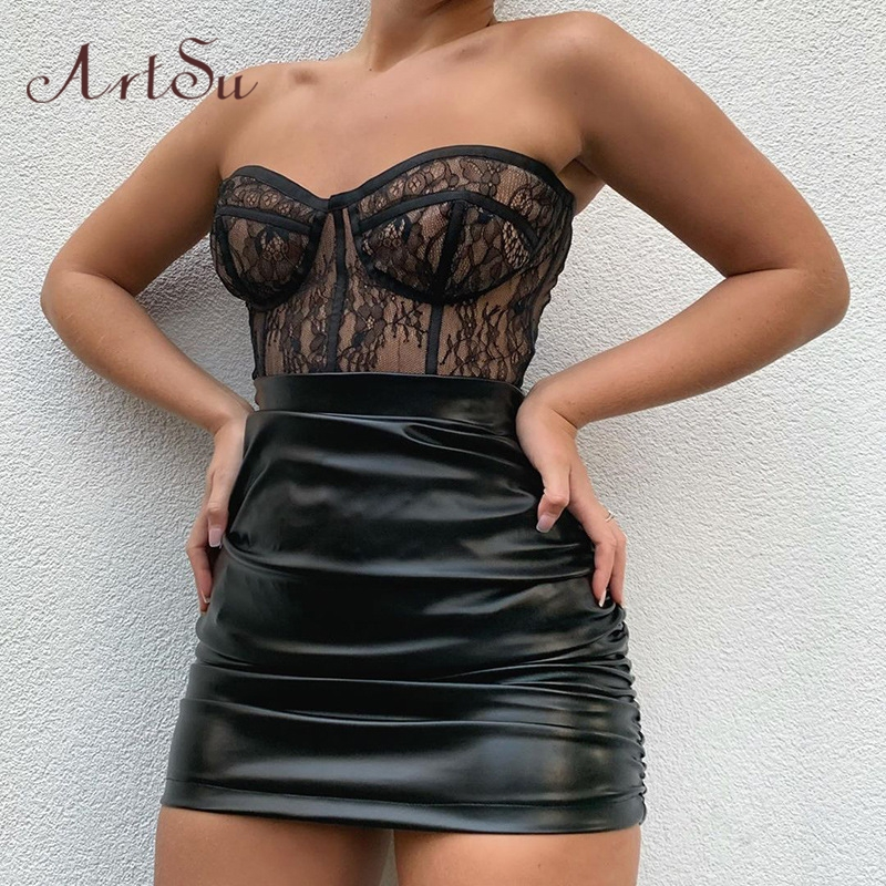 Artsu Transparent See Through Sexy Strapless Lace Top Vest Underwear Sleeveless Bustier Corset Female Top Cropped 2020 ASVE60716