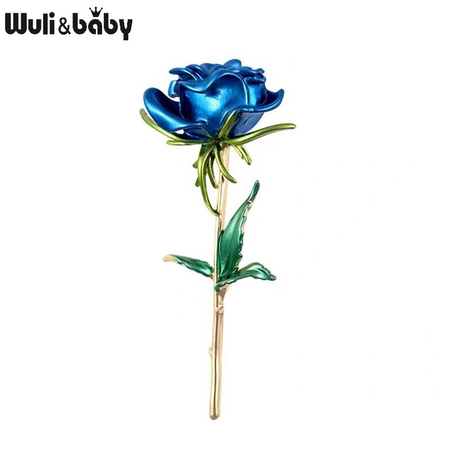 Wuli&baby Classic Enamel Rose Flower Brooches For Women Alloy 4-color Rose Flower Weddings Office Casual Brooch Pins Gifts 2