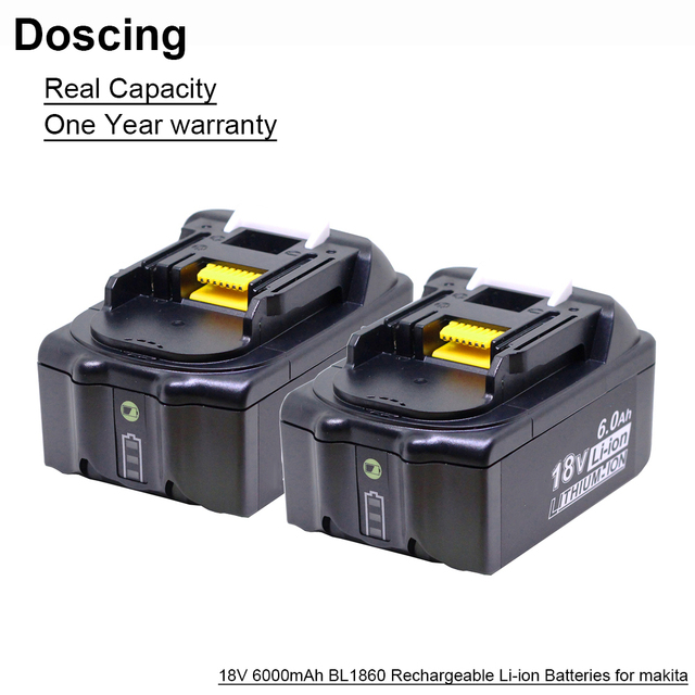 Doscing 18V 6000mAh BL1860 Replacement Batteries with LED Indicator for Makita BL1850 BL1840 BL1830 BL1850 BL1820 Battery