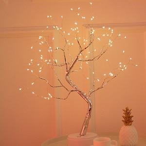 Светодиодный светильник в форме дерева в стиле бонсай 36 светодиодный s 108 светодиодный s медный провод DIY USB ночник сенсорный выключатель управления Рождественский декоративный свет #3