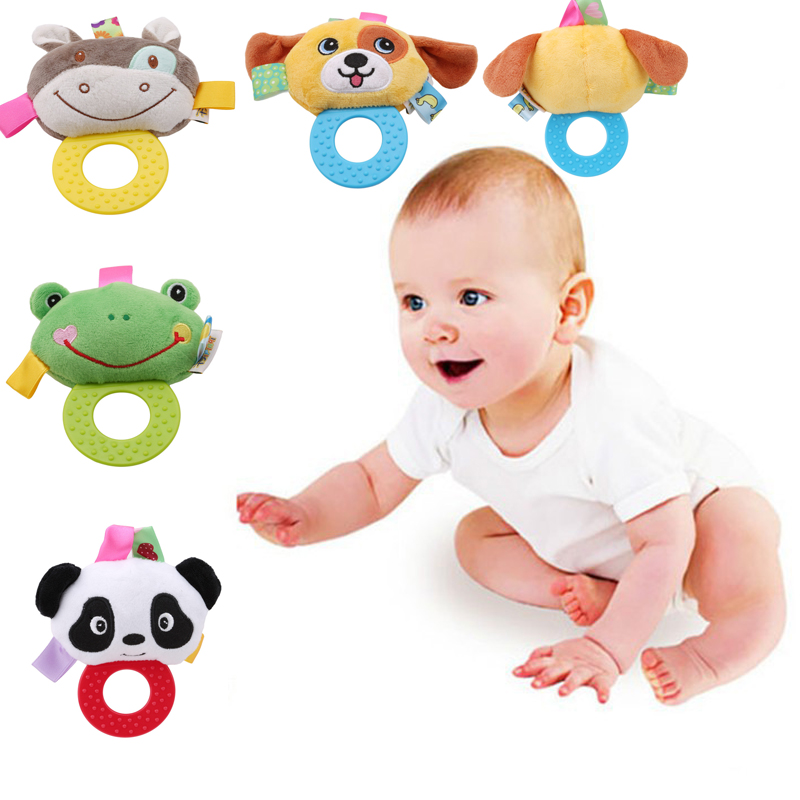 Newborn Rattles Toy Hand Bell Toddler Infant Rings Interactive Cute Animal Plush Toys Silicon Teether Baby Early Education Gift
