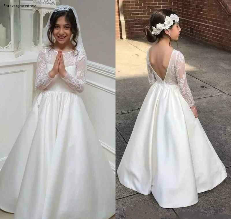 2019 White Princess Cheap Lovely Cute Long Sleeves Lace Backless   Flower     Girl     Dresses   Daughter Toddler Kids First Holy Gowns