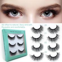 3 Pairs 3D Pure Handmade Fake Eyelashes Natural Long Thick Daily Makeup Cross Eye Lashes