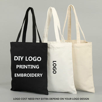 DIY printing Women Canvas Tote Bag Fashion Shoulder Bag CUSTOM logo Printing Bags Ladies Duty Cotton Shopping Bags