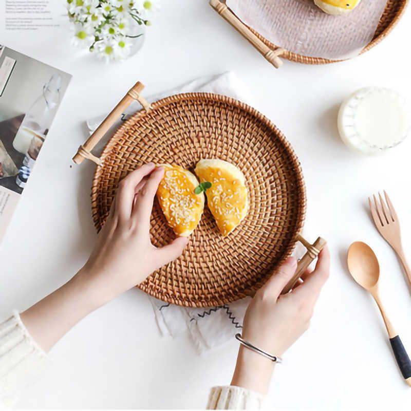 Practical Rattan Handwoven Round High Wall Severing Tray Food Storage Platters  Plate over Handles for Breakfast Drinks Snack|Bowls & Plates| - AliExpress