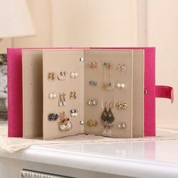 Couro do plutônio organizadores de maquiagem portátil moda feminina brincos coleção colar jóias livro caixa exibição organizador acessórios